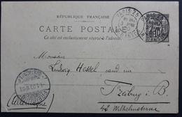 Frankreich 1900, CARTE PORTALE 10C PARIS Gelaufen FREIBURG - PAM