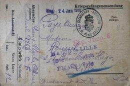 Guerre 14-18. KRIEGSGEFANGENENSENDUNG. MAIRIE DE LILLE SERVICE GRATUIT (Prisonnier De Guerre) - WW I