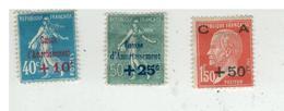 YV 246 à 248 NEUF AVEC CHARNIERE 1ere Caisse D'Amortissement Cote 30 Euros - France