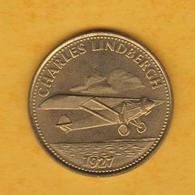 France - Jeton Publicitaire En Métal - Shell - Conquête De L'espace - Charles Lindbergh 1927 - Advertising