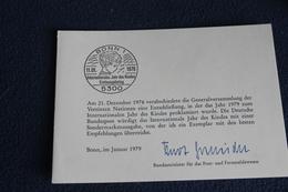 """Ministerkarte Zum Ausgabeanlaß: """"Jahr Des Kindes""""; 11.1.1979; MiNr. 1000 - [7] République Fédérale"""