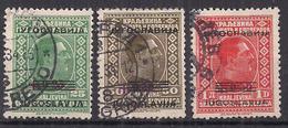 JUGOSLAVIA 1933 FRANCOBOLLI SOPRASTAMPATI CON VALORE SUPPLEMENTARE YVERT. 252-254 USATA VF - 1931-1941 Royaume De Yougoslavie