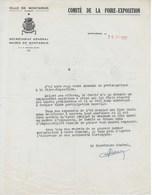 Lettre Comité De La Foire-Exposition De  MONTARGIS (LOIRET) 1952 - France