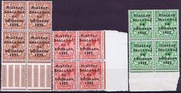 Ireland 1922 (Nov Dec) Thom Rialtas Wide Setting 1/2d 1d 1 1/2d Marginal Blocks Of Four Mint - 1922 Gouvernement Provisoire