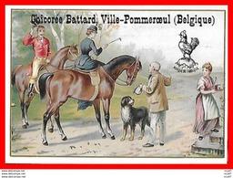 CHROMOS.  Chicorée BATTARD (Belgique).   Cavalière Et Cavalier à Cheval...S1048 - Thee & Koffie