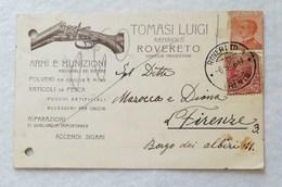 Cartolina Con Testata Pubblicitaria Tomasi Luigi Armaiolo Rovereto Per Firenze 1926 - Marcophilia