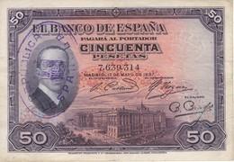 BILLETE DE ESPAÑA DE 50 PTAS DEL AÑO 1927 CON DOBLE SELLO DE LA REPUBLICA ESPAÑOLA EN SECO Y TINTA (BANKNOTE) - 50 Pesetas