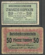 Germany Occupation Territories Ober-Ost 1916 WWI Posen Bank Notes 20 & 50 Kopeken - Eerste Wereldoorlog