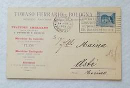 Cartolina Con Testata Pubblicitaria Tomaso Ferrario Macchine Per L'agricoltura Bologna Per Asti 1921 - Marcofilía