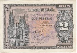 BILLETE DE ESPAÑA DE 2 PTAS  DEL AÑO 1938 SERIE N CALIDAD EBC (XF) (BANKNOTE) - 1-2 Pesetas