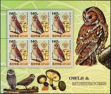 NORTH KOREA 2006 BELGICA International Stamp Exhibition Owls & Mushrooms Bird Owl Birds Animals Fauna MNH - Owls