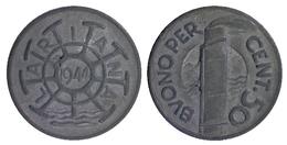 03949 GETTONE JETON TOKEN TRANSPORT FERRY BOAT  NAVIGAZIONE LARIANA BUONO DA 50 CENTESIMI 1944 - Italy