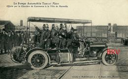 PHOTO: Marseille: Auto: Pompiers: La Pompe Automobile Turcat Méry, Photo D'une Ancienne Carte Postale, 2 Scans - Automobiles
