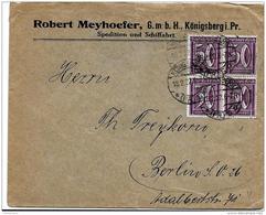 40-18 - Enveloppe Envoyée De Königsberg 1922 - Allemagne