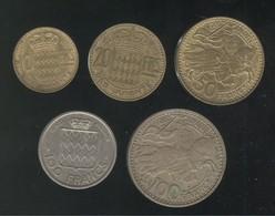 Lot 5 Monnaies Monaco Rainier III Anciens Francs Monégasques - 1949-1956 Anciens Francs