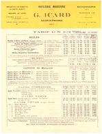 HUILERIE MODERNE -G. ICARD  SALON DE PROVENCE -   TARIF DN 101-1927- SAVONNERIE ,  CAFES VERTS - 1900 – 1949