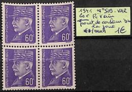 [825929]TB//**/Mnh-France 1941 - N° 509var, 60c Pétain, Point De Couleur Sur La Joue - 1941-42 Pétain
