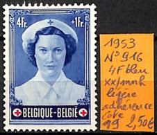 [835062]TB//**/Mnh-c:19e-Belgique 1953 - N° 916, 4f Bleu, Légère Adhérence - Belgium