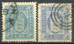 DANEMARK - Y&T  N° 6-6a (o)...perf 13.5 X 14...bleu + Outremer - Service