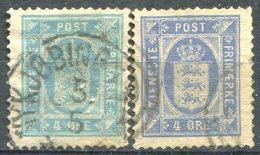DANEMARK - Y&T  N° 6-6a (o)...perf 13.5 X 14...bleu + Outremer...quelques Dents Courtes - Service
