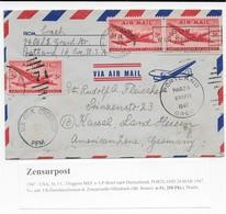 Zensurpost 1947 USA Luftpost-Brief Nach Deutschland US-Durchlaufzensur Der Zensurstelle Offenbach - Vereinigte Staaten