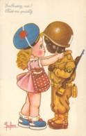 Carte Illustré D'une Jeune Femme Et Son Black GI Soldat Américain Libération Kiss Me Quickly Embrasse-moi ! - Leclerc