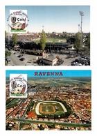 2x RAVENNA STADIUM STADE ESTADIO STADION STADIO STAMP AND CANCEL TIMBRE AT CACHET FRANCOBOLLO E ANNULLO SPECIALE ILLUSTR - Football