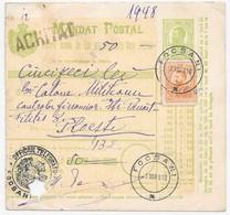 ROMANIA Roumanie 1910 Mandat Postal Money Order Entier Stationery 5 Bani FOCSANI > PLOIESTI - 1881-1918: Carol I.