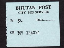 BHUTAN 1x Bus Ticket Nu. 5, 2010s City Bus Services (Thimphu), Managed By Bhutan Post Bhoutan - Bus
