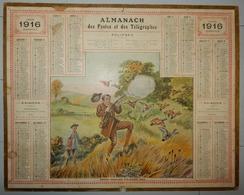 CALENDRIER ALMANACH DES POSTES ET TÉLÉGRAPHES 1916 DÉPARTEMENT DE LA LOIRE CHASSEUR PERDRIX - Grand Format : 1901-20