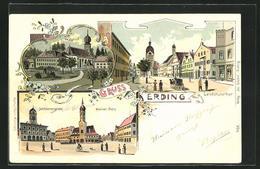 Lithographie Erding, Partie Am Schrannenplatz, Kleiner Platz, Heiligblut, Landshuterthor - Landshut