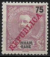 Inhambane – 1911 King Carlos Overprinted REPUBLICA 75 Réis Mint - Inhambane