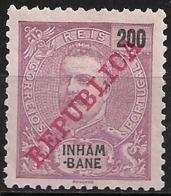 Inhambane – 1911 King Carlos Overprinted REPUBLICA 200 Réis Mint - Inhambane