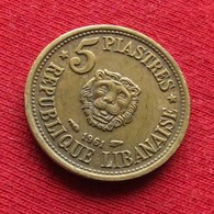 Lebanon 5 Piastres 1961 KM# 21 *V2 Liban Libano Libanon - Lebanon
