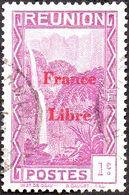 Réunion Obl. N° 218 - Vue -> Bras Des Demoiselles - 1c Violet Surchargé France Libre - Réunion (1852-1975)
