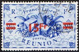 Réunion Obl. N° 259 - Détail De La Série De LONDRES Surchargé En 1945 - Productions - 15frs Sur 2frs50 C Bleu - Oblitérés