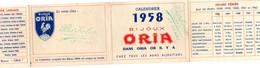 Calendrier 4 Volets. ORIA. 1958. Bijoutier Barbotin Le Blanc 36. 2 Scans. Pierres Du Mois Et Leur Langage, Mariage - - Small : 1941-60