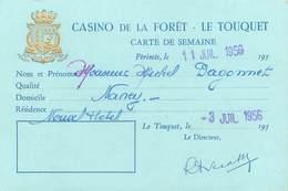 Timbre Fiscal (fiscaux) - Casino De La Forêt - Le TOUQUET- Journée - 340 Fr - 1956 - Peu Commun - Fiscaux