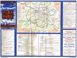 Dépliant- Plan De Métro Paris - Février 1945 - Donné Aux Militaires - Ministère De La Guerre - Europe