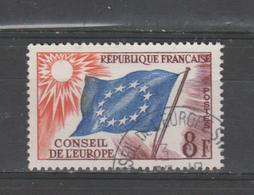 FRANCE / 1958-1959 / Y&T SERVICE N° 17 : Conseil De L'Europe (Drapeau 8F) - Choisi - Cachet Rond CONSEIL - Oblitérés