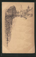 Lithographie Nürnberg, Strassenpartie An Der Burg, Sehr Früher Druck - Nuernberg