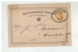 Autriche - Entier Postal 2 Kreuser De TRIEST à Destination De KARLSTADT KARLOVAC CROATIA 1876 - Enteros Postales