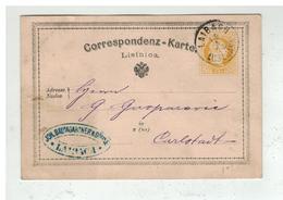 Autriche - Entier Postal 2 Kreuser De LAIBACH LUBLUANA à Destination De KARLSTADT KARLOVAC CROATIA 1872 - Enteros Postales