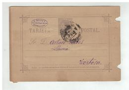 Espagne - Entier Postal 10 Centimos De VALENCIA à Destination De TORTOSA 1888 - Interi Postali