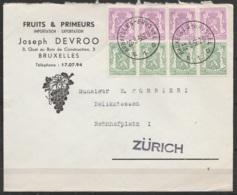 """L. Entête """"Fruits & Primeurs"""" Affr. N°422x4 + 713Ax4 Càd BRUXELLES-BRUSSEL/22-3-1950 Pour ZÜRICH (Suisse) - 1935-1949 Sellos Pequeños Del Estado"""