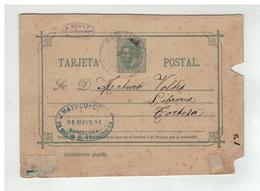 Espagne - Entier Postal 15 Centimos De BARCELONA à Destination De TORTOSA 1891 - Interi Postali