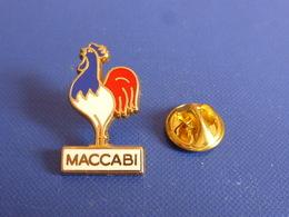 Pin's Maccabi France - Association Sportive Israël - Football Foot Coq Sportif Ballon - Zamac Doré (PAA19) - Football