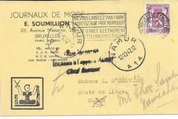 """CP. TP. 711 Bruxelles 11/12/47 Vers NAMUR RUE INCONNUE-INCONNU A L'APPEL A NAMUR"""" - 1951-1975 Heraldischer Löwe (Lion Héraldique)"""