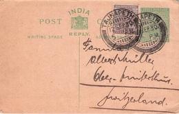 INDIA - POSTCARD/REPLY 1930 In Die SCHWEIZ /ak533 - 1911-35  George V