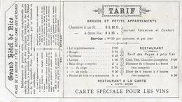 Carte De Visite - Grant Hôtel De Nice - Paris ( Arrondissement IIè ) Années 1900 - Pas Carte Postale - - Arrondissement: 02